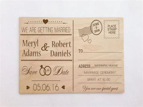Postcard Wedding Invitations by Custom Wooden Engraved Postcard Wedding Invitation