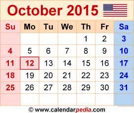Calendar Of October 2015 October 2015 Calendars For Word Excel Pdf