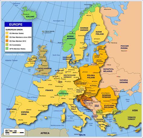 political map  europe showing  european countries
