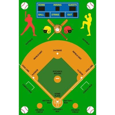 la rug fun time baseball field multi colored 39 in x 58