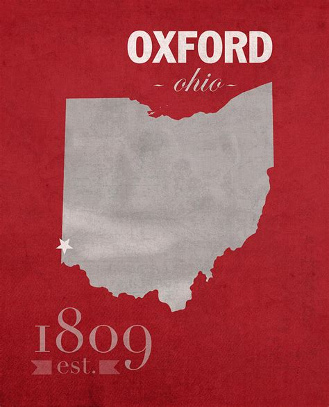 Poster Typography 064 miami of ohio redhawks oxford college town state map poster series no 064 mixed media