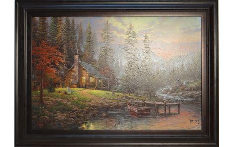 1449482910 thomas kinkade peaceful retreat with thomas kinkade quot peaceful retreat quot framed canvas painting