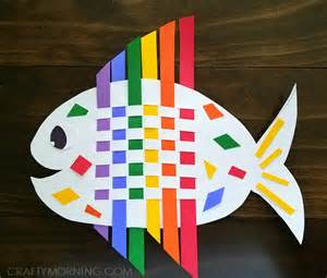 paper weaving template weaving rainbow fish craft crafty morning