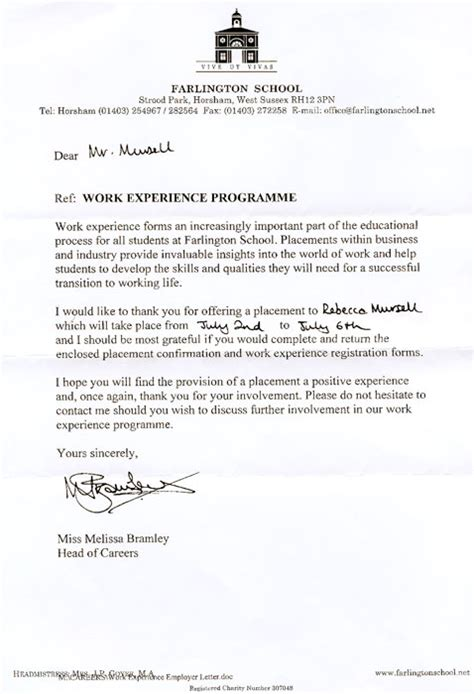 Work Experience Application Letter For School Letter Of Application Letter Of Application Work Placement