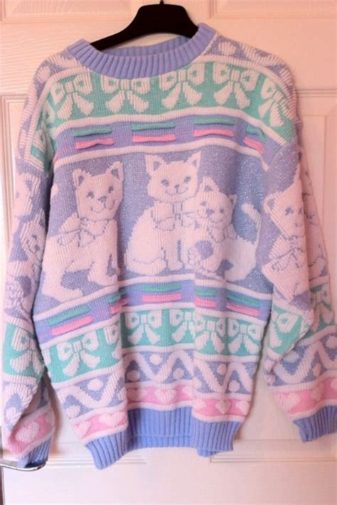 Sweater Cat April Merch vintage pastel knitted sweater glitter cat par helloambition