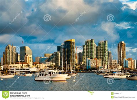 skyline motors san diego motorboat and city skylline stock photography image