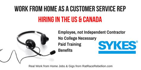 work from home as a customer service rep for sykes us