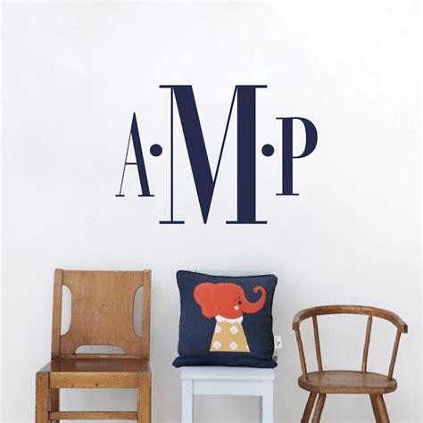 initial wall stickers bedroom monogram wall decal room custom name