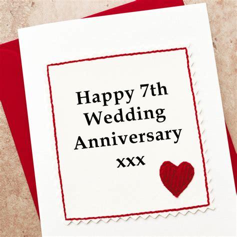 7th anniversary gift for handmade 7th wedding anniversary card by arnott