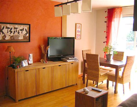salon noir orange moderne photo 24 murpro mur saumon prune et apr 232 s