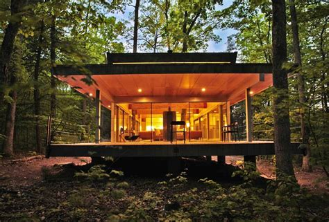 modern house in the woods by travis price architects