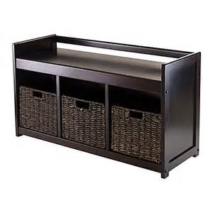 three basket storage bench winsome trading storage bench with 3 baskets bed