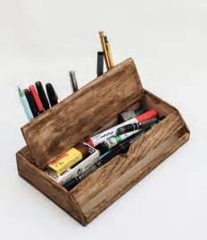 Desk Storage Organizers Vintage Wooden Handmade Desk Organizer Pen Holder Cellphone Stand
