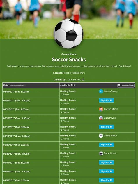 soccer schedule template best soccer snack schedule template images exle