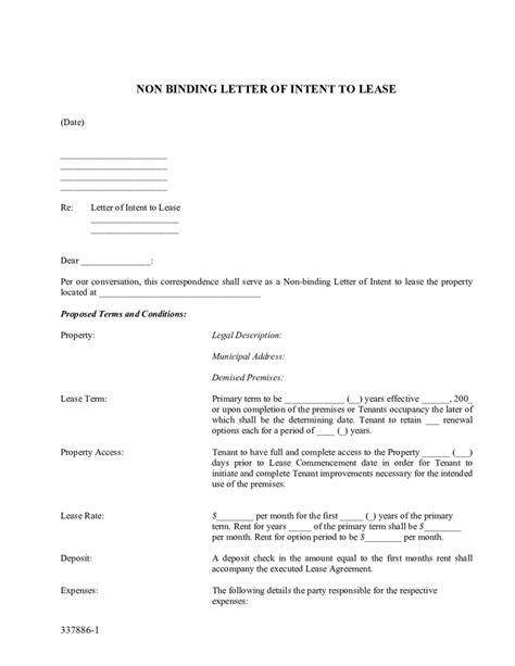 Letter Of Intent For Business Office non binding letter of intent to lease edit fill sign