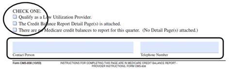 Medicare Credit Balance Form Tips On Completing A Credit Balance Report Form Cms 838
