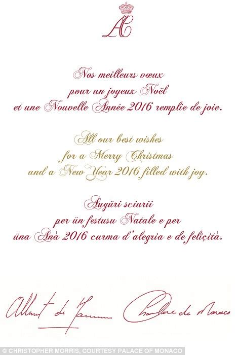 princess charlene  prince albert  monaco release   family christmas card daily