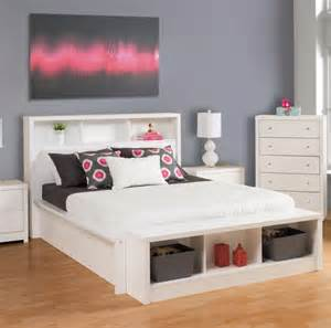 Platform Bed With Headboard Shelves Calla White Size Platform Bed With Bookcase