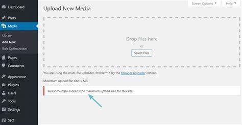 check maximum file upload size limit  wordpress
