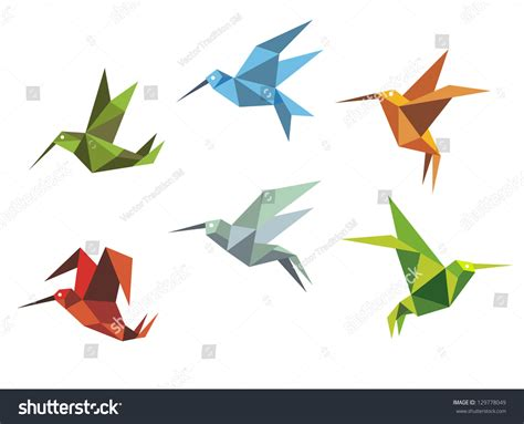 Origami Bird Flying - collection origami flying birds japanese tradition stock