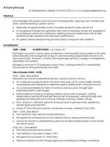 Resume For Store Manager by Retail Store Manager Resume Sle Managnment Resumes