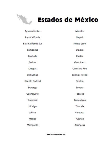 lista los presidentes de mexico lista de estados de m 233 xico para imprimir gratis