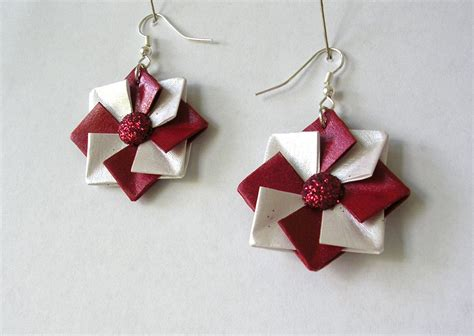 Origami Charm - origami earrings origami jewelry and white paper
