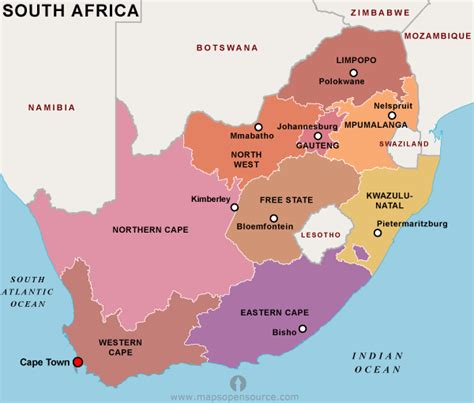 south africa map provinces and capitals free south africa map black and white map of south