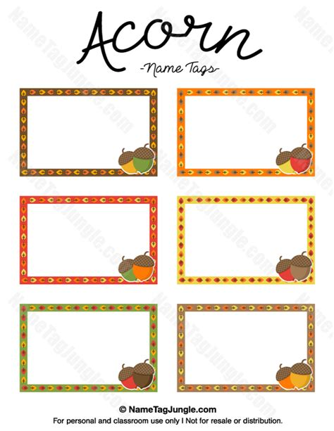 printable name tag color free printable acorn name tags in fall colors the