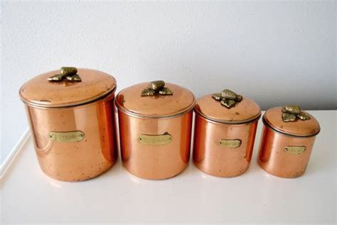 vintage kitchen canisters flour sugar containers storage vintage kitchen storage canisters metalutil copper and