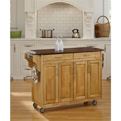 home styles 5216 95 solid wood top kitchen island cart in home styles natural kitchen cart with storage 5216 95