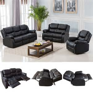 Leather Motion Sofa Black Motion Sofa Loveseat Recliner Living Room Bonded Leather Furniture Ebay
