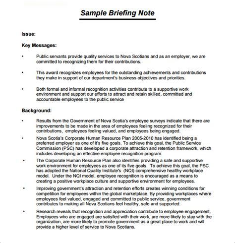 Sample Resume Format In Australia by Briefing Note Template 7 Download Documents In Pdf Psd