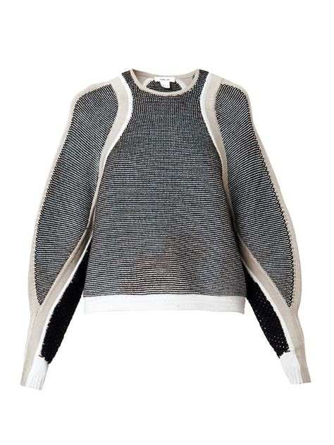 Decorative Panel Sweater White Grey 1 lyst helmut lang convergingpanels sweater in gray