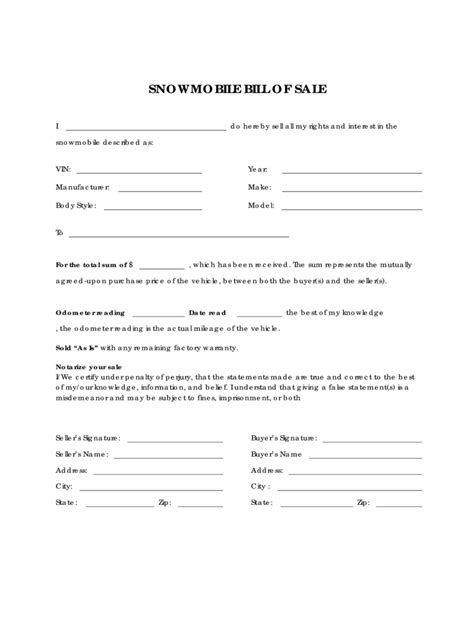 snowmobile bill of sale template snowmobile bill of sale form 5 free templates in pdf