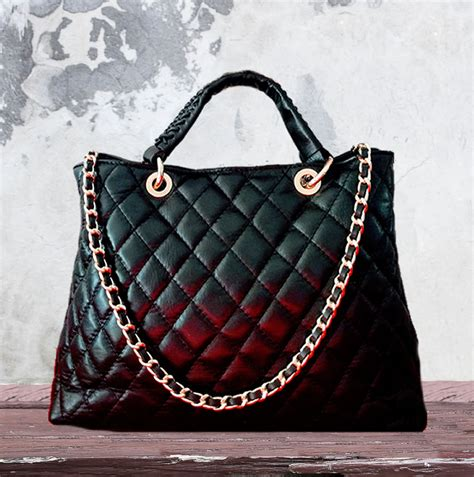 Chanel Style Black by Black Leather Quilted Chanel Style Tote Nkd