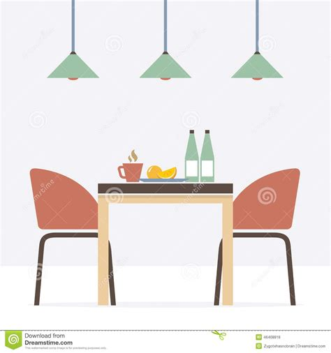 Home Decor Bookshelf flat design interior dining room stock vector image
