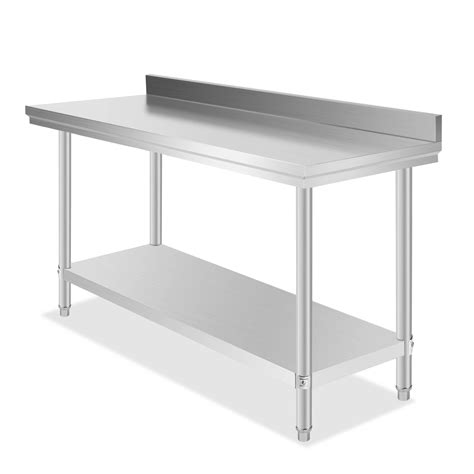 Industrial Kitchen Table Stainless Steel Commercial Kitchen Stainless Steel Work Prep Table 24 X 60 With 2 Quot Backsplash 139 90 Picclick