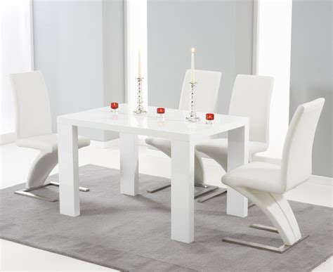 White Dining Tables Uk Buy Harris Metz White High Gloss 120cm Dining Set With 4 White Hereford Dining Chairs