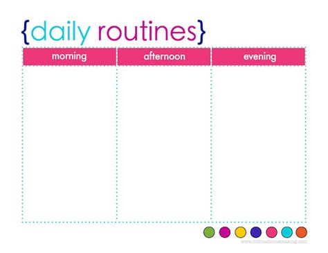 daily routine template daily routine chart template selimtd
