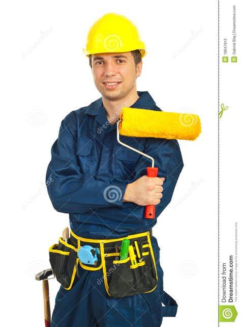 paint man happy worker man holding paint roller stock photography