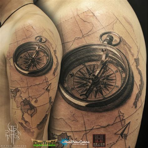 black and grey compass tattoo pit fun tattoos certified artist