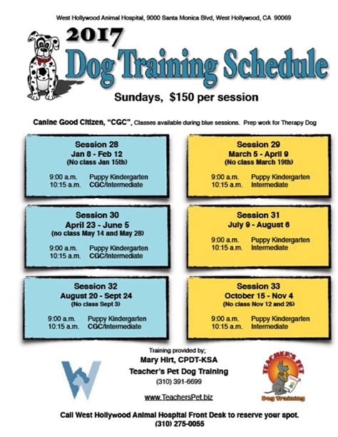 what is the schedule for puppy puppy obedience schedule photo