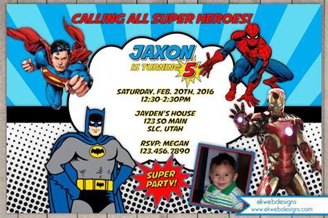 superman layout invitation superheroes birthday invitations batman superman