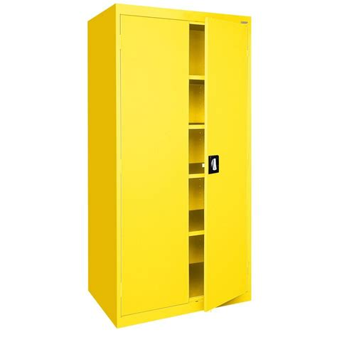 Yellow Storage Cabinet Sandusky Elite Series 78 In H X 36 In W X 18 In D 5 Shelf Steel Recessed Handle Storage