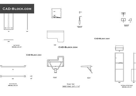 toilet accessories cad blocks