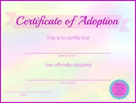 templates for adoption certificates printable stuffed animal adoption certificates blueberry