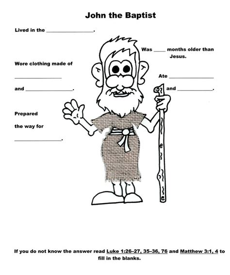 wb themes game answers john the baptist worksheet lds kids primary