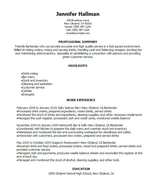 sle cv for restaurant job bartender resume exles bartender cv exle for restaurant