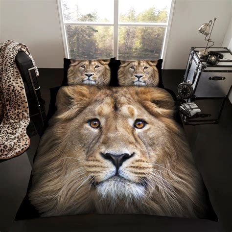 lion comforter set 3d animal lion premium duvet cover bedding set single